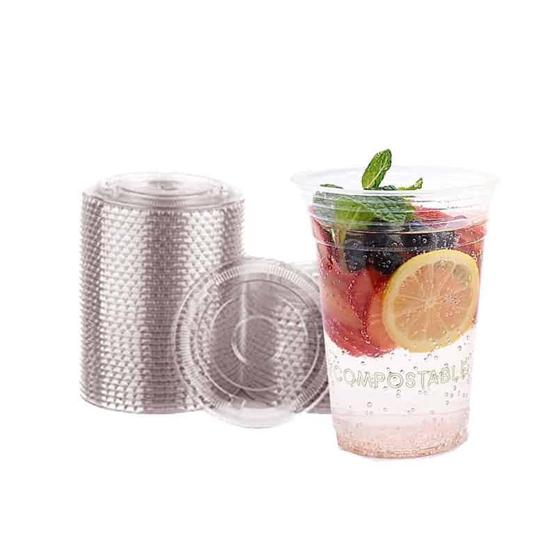 compostable cold cup with juice in it